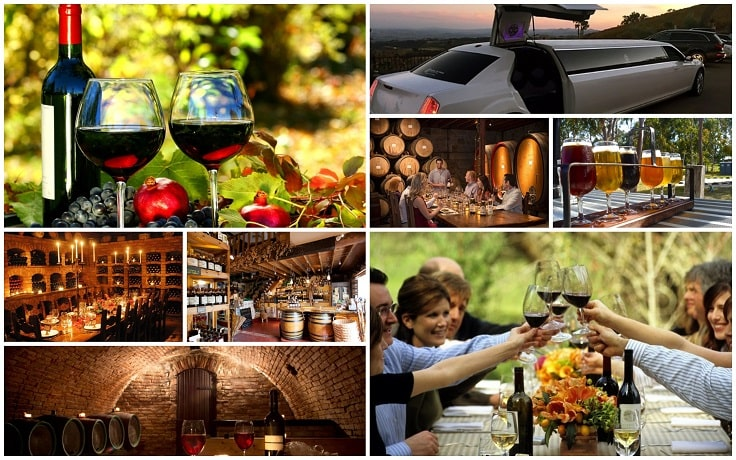 image is showing collage about Wine tours