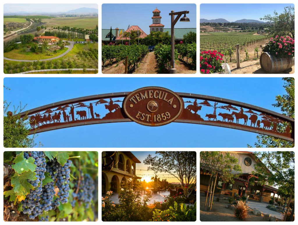 image is showing collage about valley of Temecula vineyards