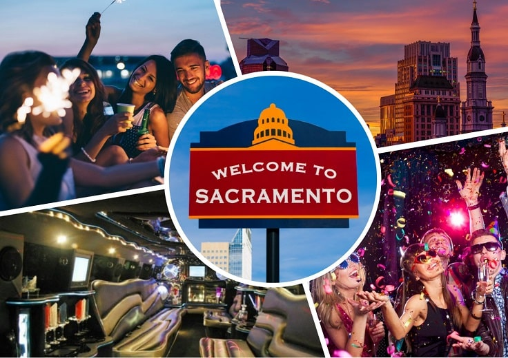 image is showing a collage about parties in Sacramento