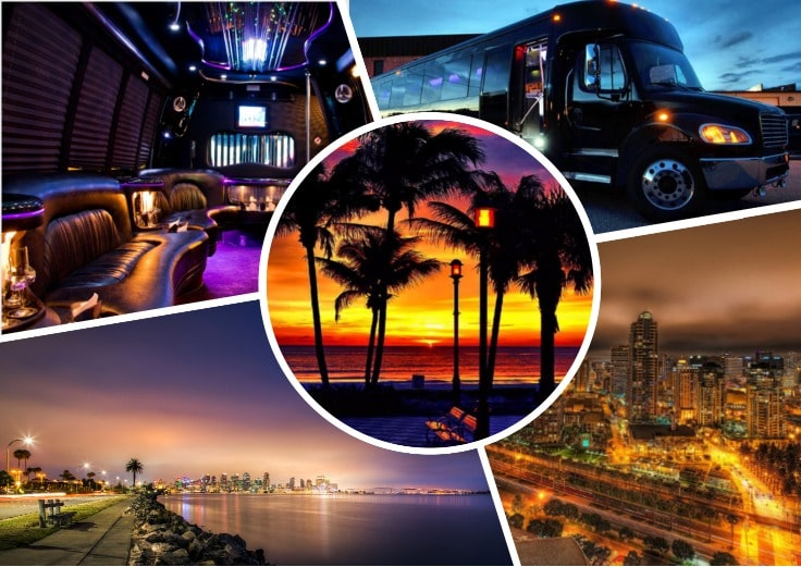 image is showing collage about San Diego City at night time