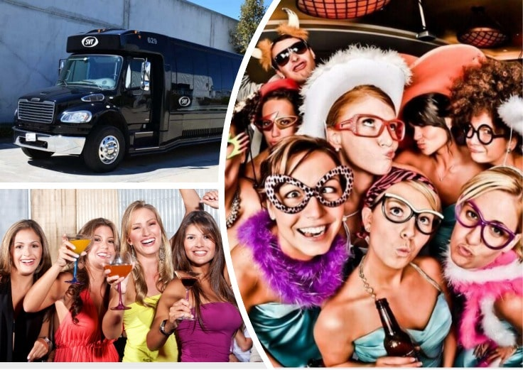 image is showing collage about party bus in Santa Barbara
