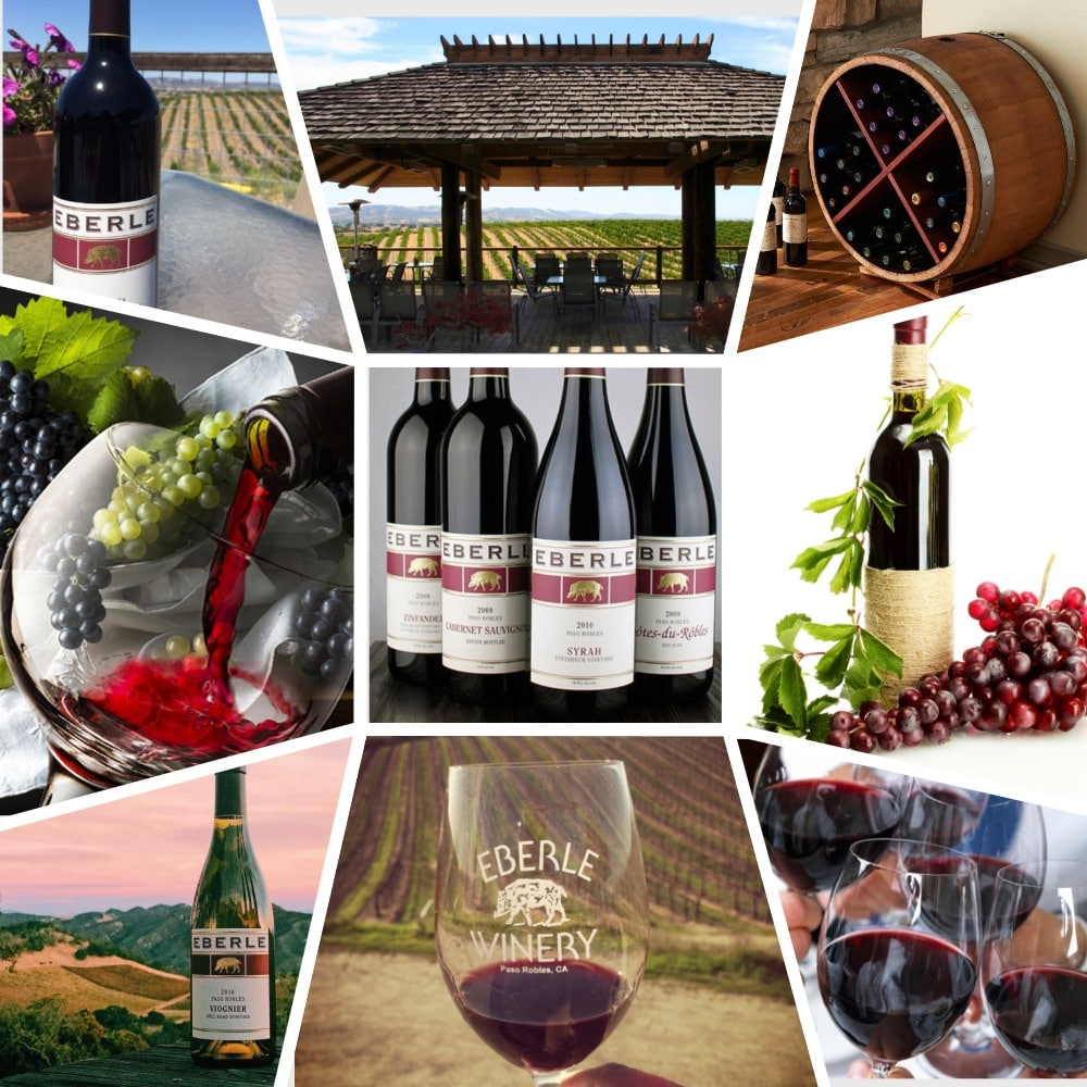 image is showing collage of bottles of wine in Eberle Winery, California