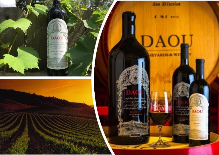 image is showing collage of bottles of wine in Daou Vineyards, California
