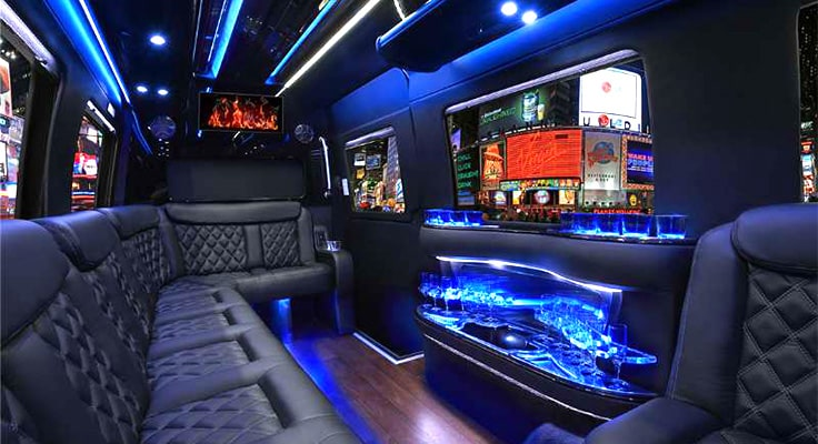image is showing interior of limo