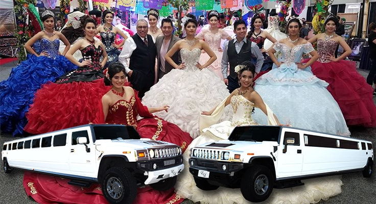collage of quinceanera images and limos