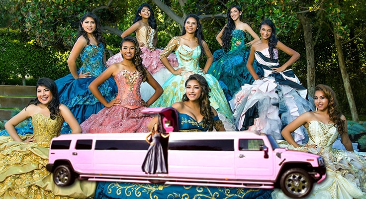 images of group of people dresses for quinceanera and limousines