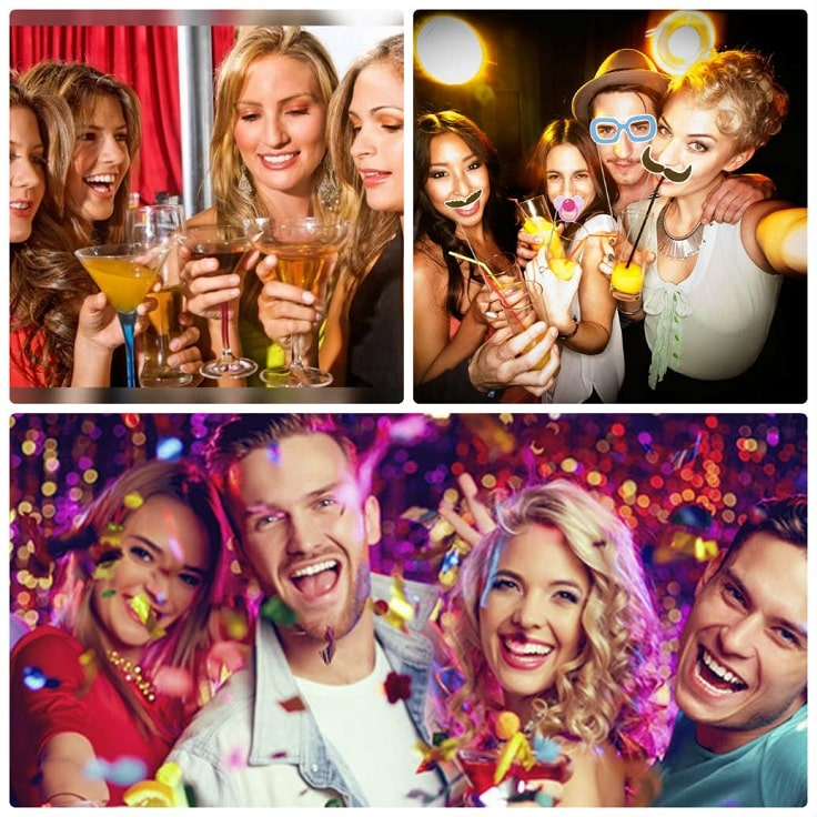image is showing collage about people party during the bus ride