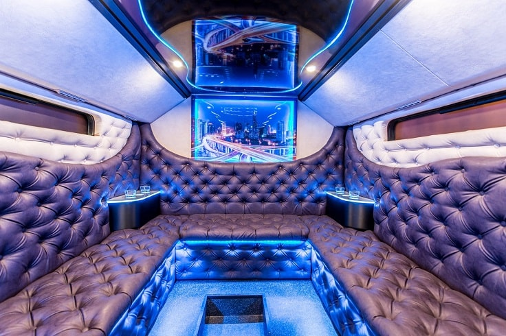 blue and brown party bus luxury inside