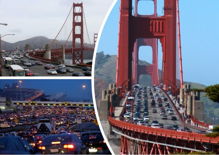 image is showing collage of San Francisco bridge and traffic