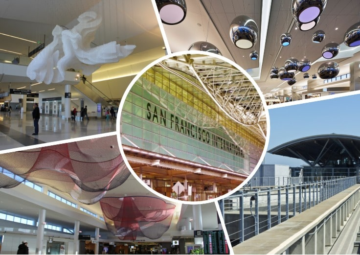 image is showing collage about SFO airport and limousines