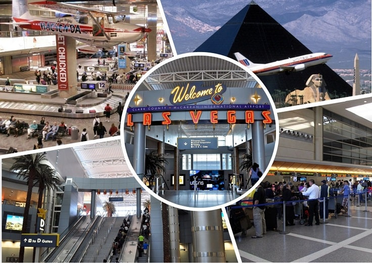 image is showing collage about Las Vegas airport