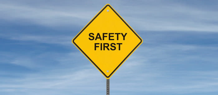 image is showing sign Safety first