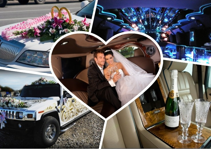 image is showing a collage about wedding limos