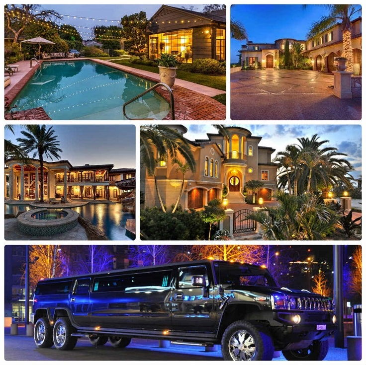 image is showing a collage about encino views and black hummer limo