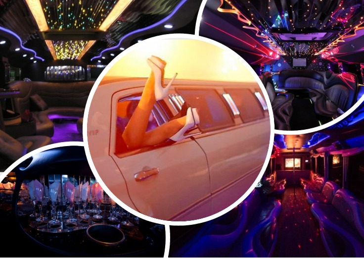 image is showing a collage of the interiors of luxury limo in Los Angeles
