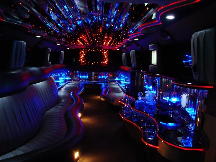 image is showing the interior of luxury limo in Los Angeles