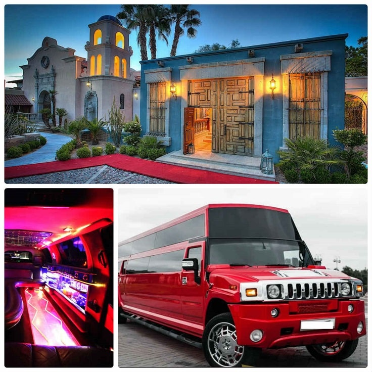 image is showing a collage about encino view and red hummer limo