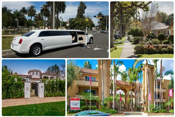 image is showing a collage about sherman oaks views and white limo