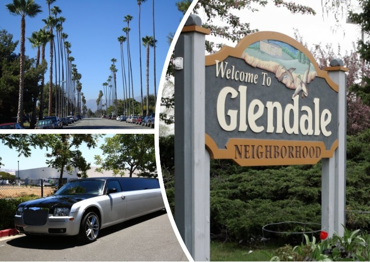 image is showing a collage about Glendale sign, the road with palms and grey limo
