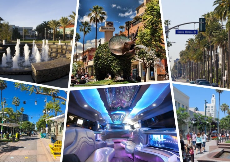 image is showing a collage about Santa Monica views and interior of luxury limo