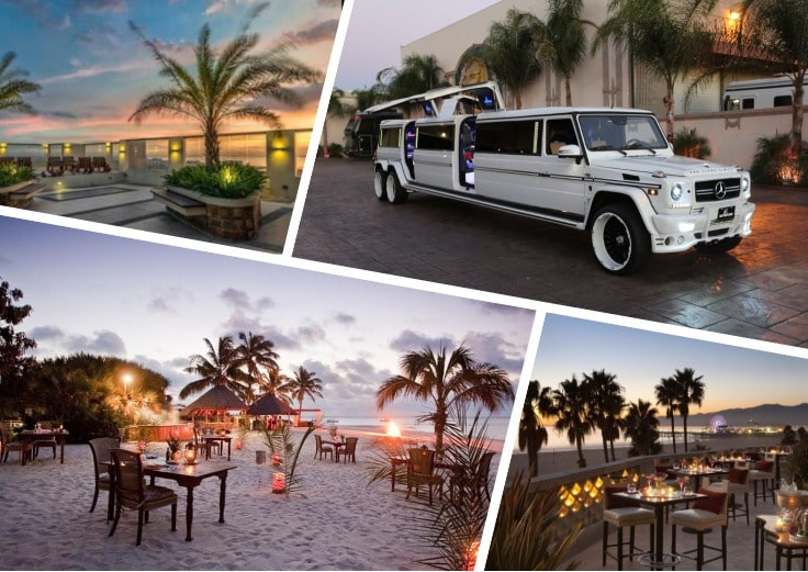 image is showing a collage about beach views and white limo