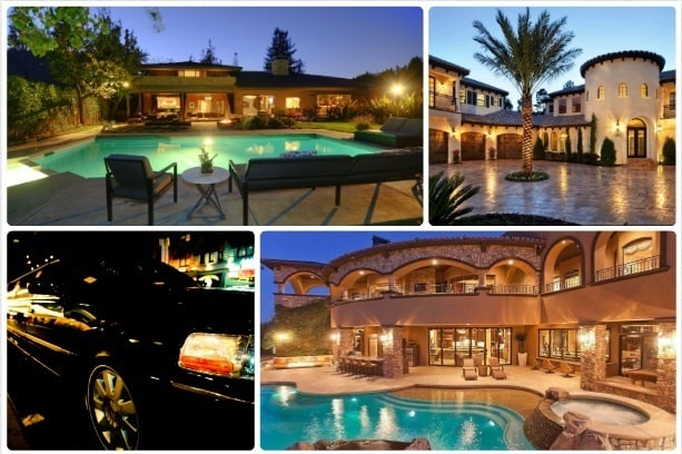 image is showing a collage about encino views and black limo