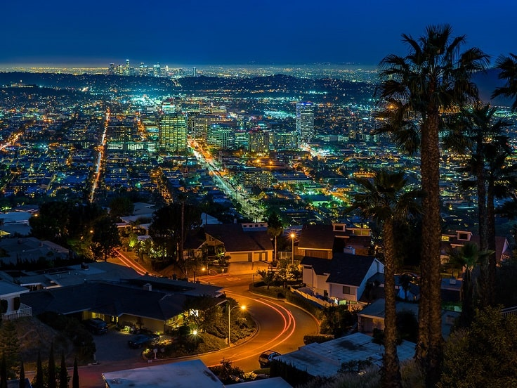image is showing a Glendale view at night time