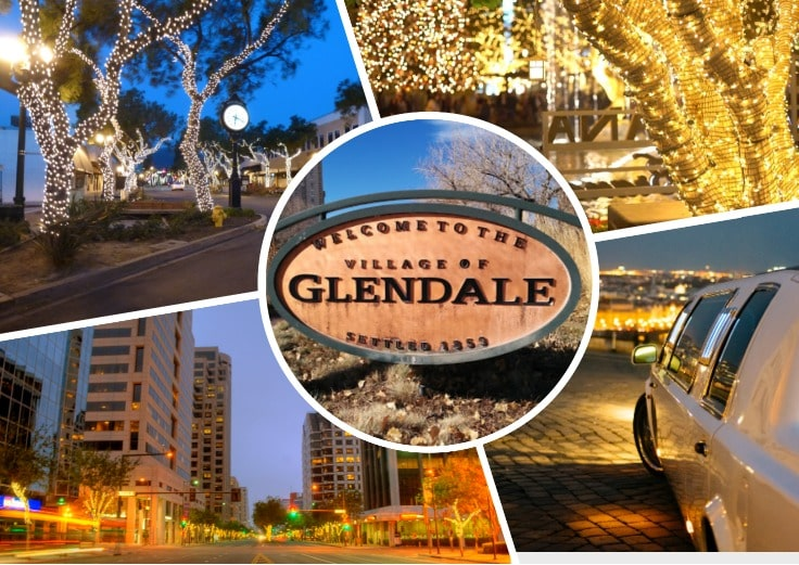 image is showing a collage about Glendale sign and trees with lights