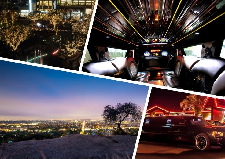 image is showing a collage about interior of luxury limo and Glendale night view