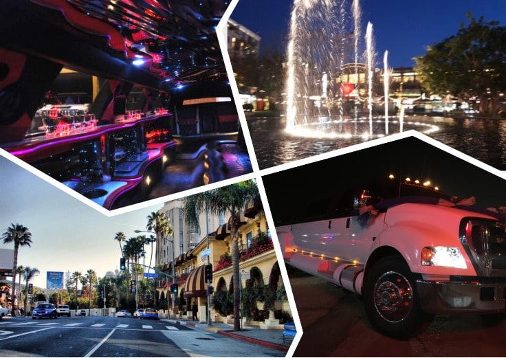 image is showing a collage about interior of luxury limo and Glendale view