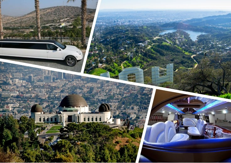 image is showing a collage about Griffit Observatory and Hollywood Lake views and white limo