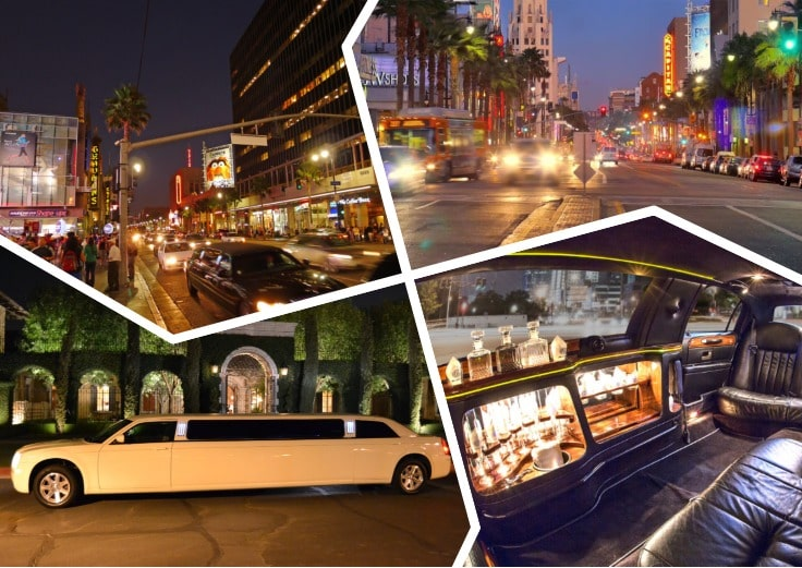 image is showing a collage about Hollywood Blvd view and white limo at night time