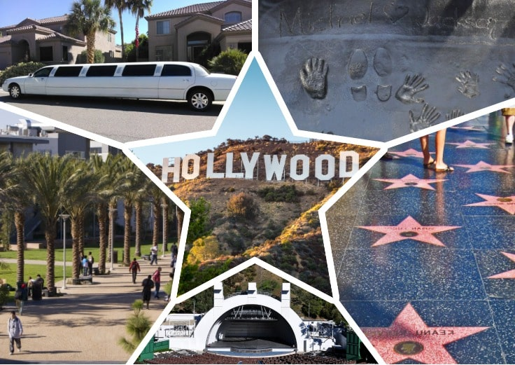 image is showing a collage about Hollywood stars alley, Hollywood Bowl and white limo
