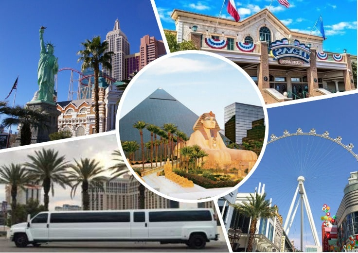 image is showing collage about Las Vegas views and white limo