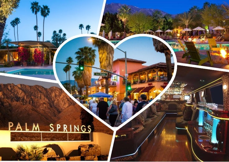 image is showing collage about palm springs views and the interior of luxury limo