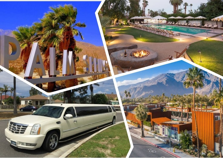 image is showing collage about palm springs views, fireplace and white limo