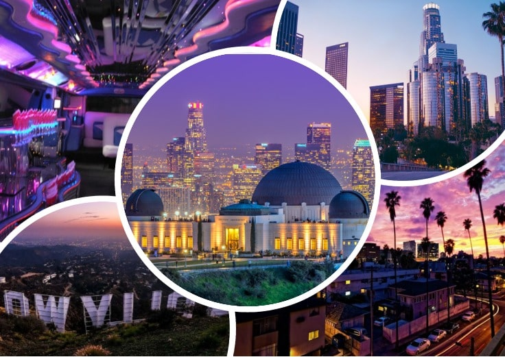 image is showing a collage about Griffit Observatory, Los Angeles views and Los Angeles Downtown