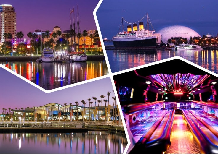 image is showing a collage about long beach views, Queen Mary Ship and the interior of luxury limo at night time