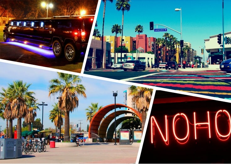 image is showing a collage about black hummer limo, NoHo metro station and North Hollywood view