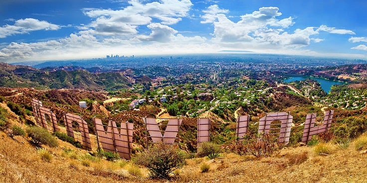 image is showing a Hollywood sign view