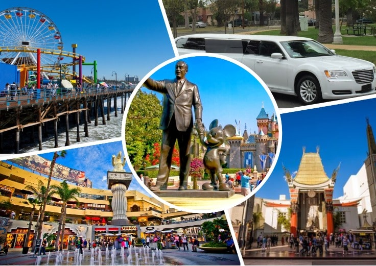 image is showing a collage about Disney Monument in Disneyland, Anaheim, Los Angeles views, white limo and Santa Monica Pier