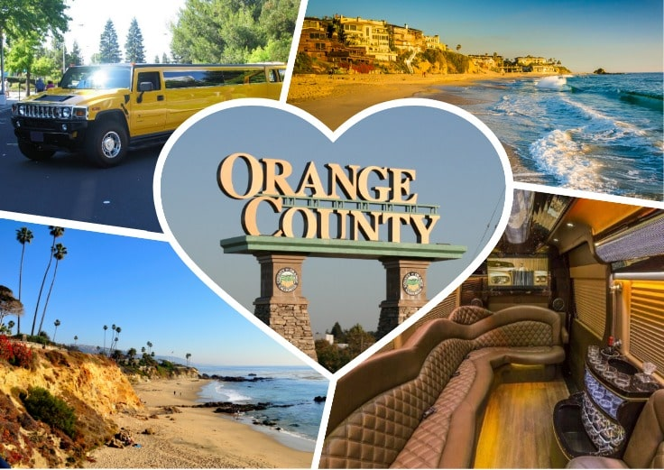image is showing a collage about orange county sign and yellow limo limo for rental orange county