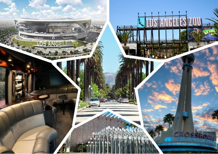 image is showing a collage about Los Angeles Zoo,, Los Angeles views and Los Angeles Stadium