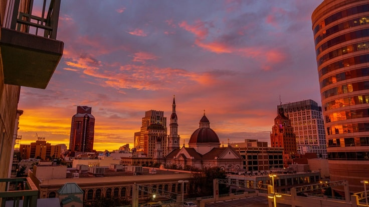 image is showing sacramento sunset view
