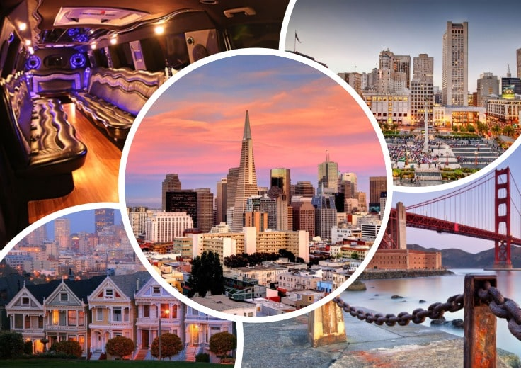 image is showing collage about san francisco sunset views and the interior of luxury limo