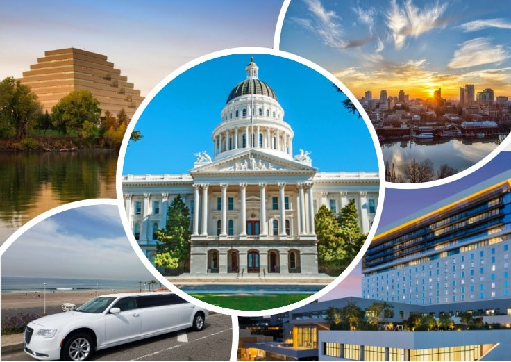 image is showing collage about sacramento views and white limo