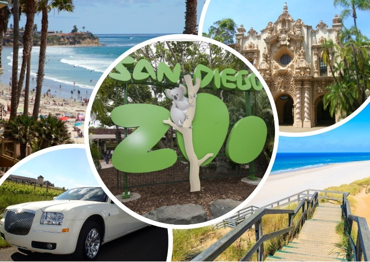 image is showing a collage about san diego beach views, san diego zoo, balboa park and white limo