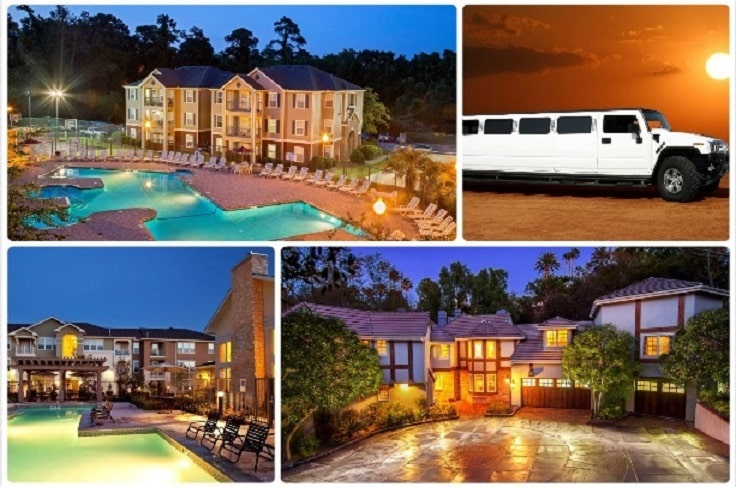 image is showing a collage about encino views and white hummer limo