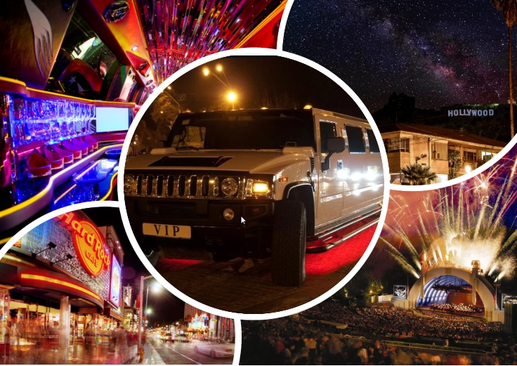image is showing a collage about Hollywood Blvd view, Hollywood Bowl and white VIP limo at night time