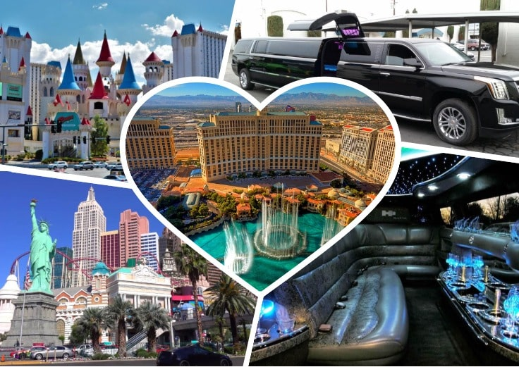 image is showing collage about Las Vegas views, black limo and the interior of luxury limo